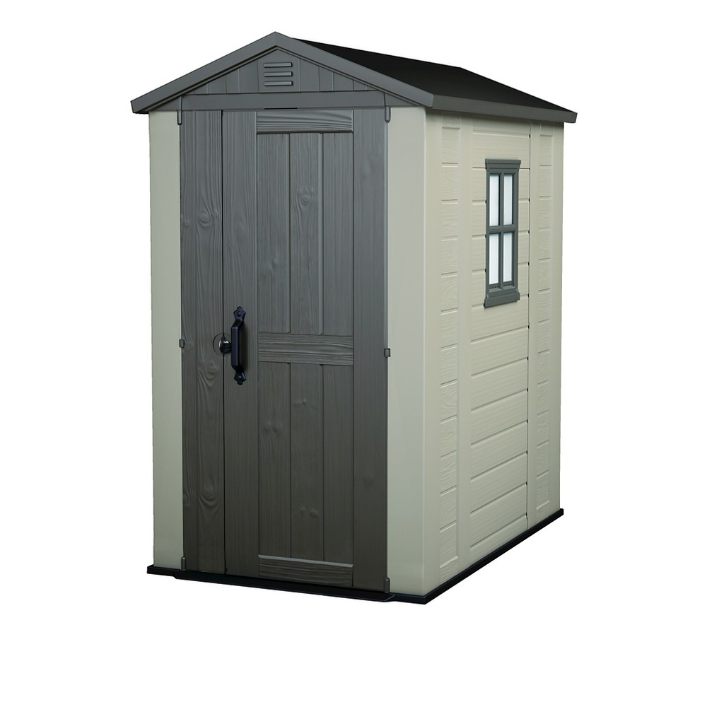 Factor Resin Outdoor Storage Shed 4X6 - Taupe/Beige - Keter, Beige/Brown