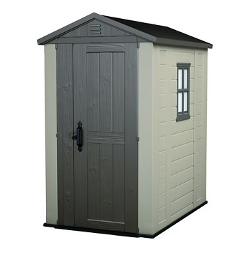 Charmant Factor Resin Outdoor Storage Shed 4X6   Taupe/Beige   Keter
