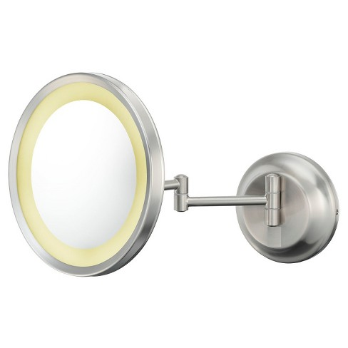 Round Single-Sided LED Lighted Wall Magnified Makeup Bathroom Mirror - Brushed Nickel - Kimball & Young - image 1 of 1