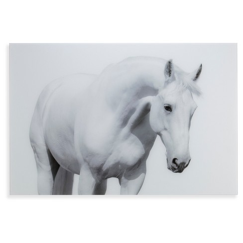 White Horse I Glass Wall Art - Monochromatic - Aiden Lane - image 1 of 6