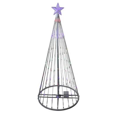 Northlight 4' Prelit Artificial Christmas Tree LED Light Show Cone Yard Art Decoration - Multicolor Lights