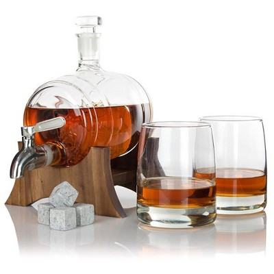 Atterstone Unique Whiskey Handblown Sail Boat Barrel Decanter Bar Set with Whiskey Stones, Drinking Glasses, and Unique Mahogany Stand