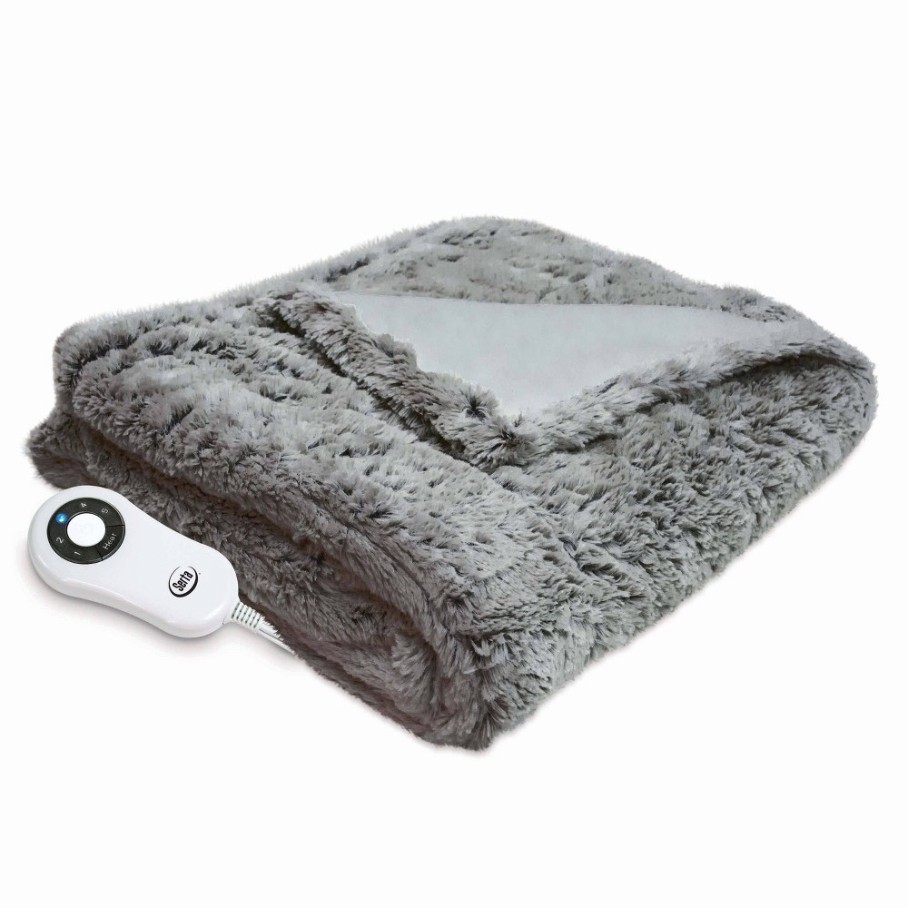 "Image of ""50"""" x 60"""" Frosted Faux Fur Electric Throw Blanket Gray - Serta"""