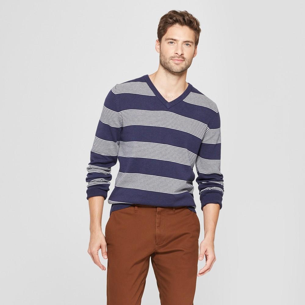 Men's Striped Standard Fit Long Sleeve V-Neck Sweater - Goodfellow & Co Navy Heather S, Blue