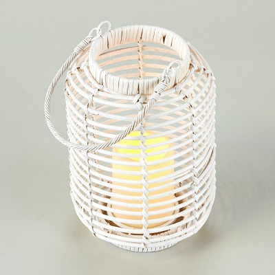Lakeside Wicker and Rattan LED Candle Lantern with Cage Look