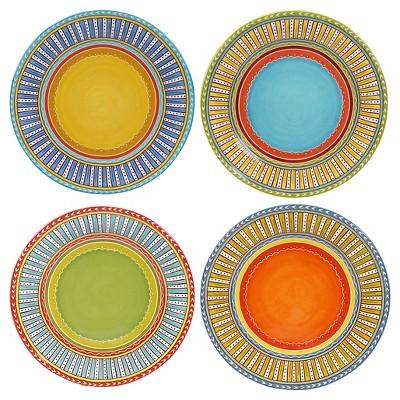 "Certified International Valencia Glazed Ceramic Dinner Plates (11.25"") - Set of 4"
