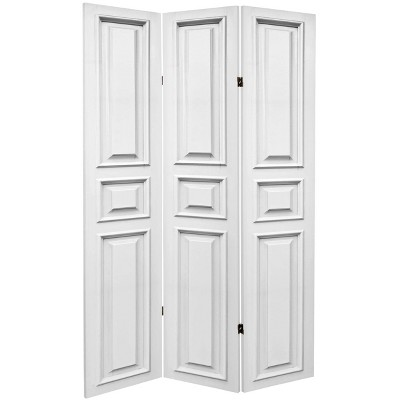 """6"""" Double Sided Door Panel Canvas Room Divider White - Oriental Furniture"""