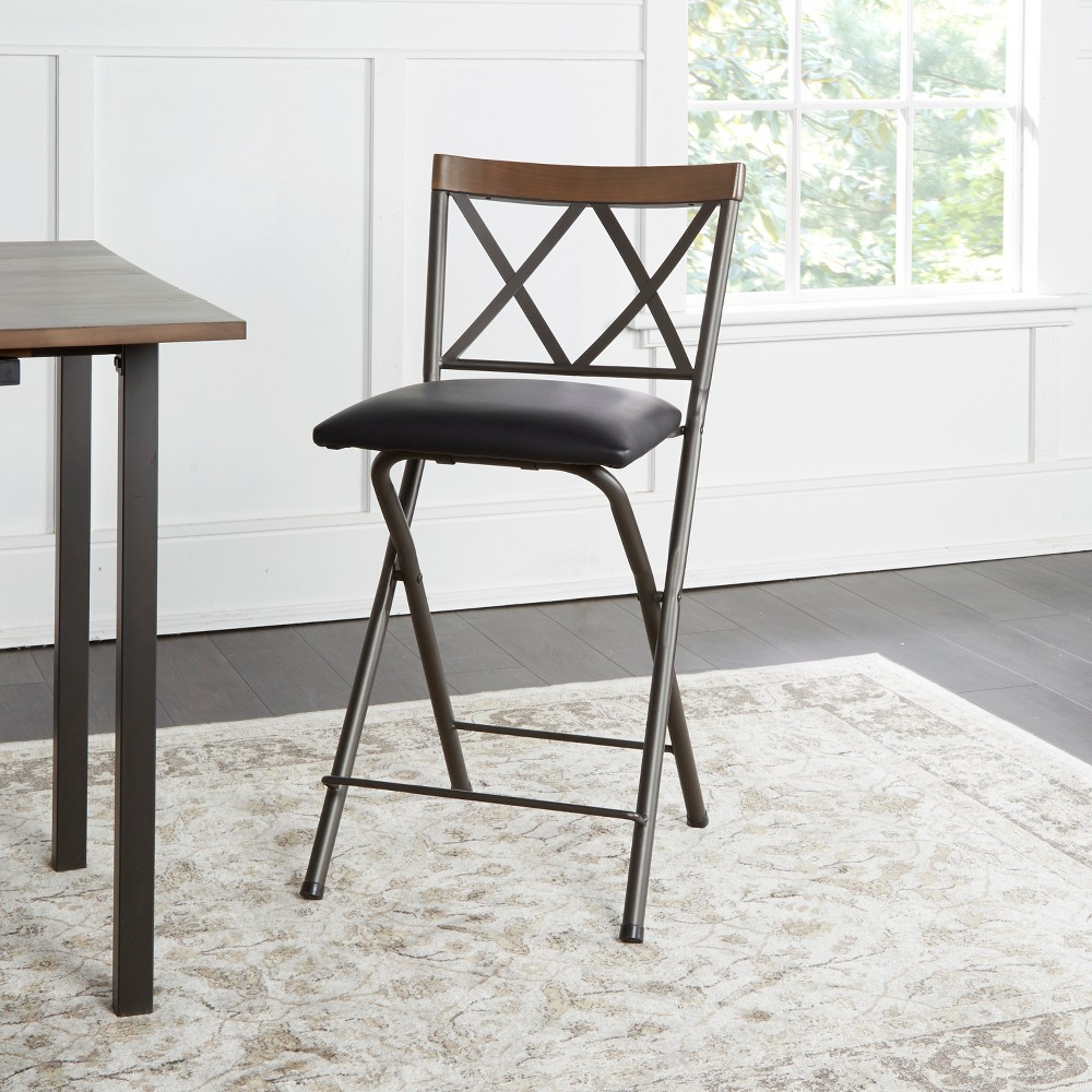 "Image of ""24"""" Folding Metal Barstool Gunmetal - Cheyenne Products, Gray"""