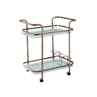 HOMES: Inside + Out Elleria Rectangular Metal Serving Cart Metal/Champagne
