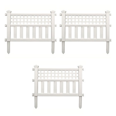 Suncast Grand View 14.5 x 24 Inch Resin Yard Garden Border Fence, White (3 Pack)