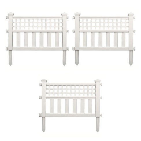 Suncast Grand View 14.5 x 24 Inch Resin Yard Garden Border Fence, White (3 Pack) - image 1 of 3