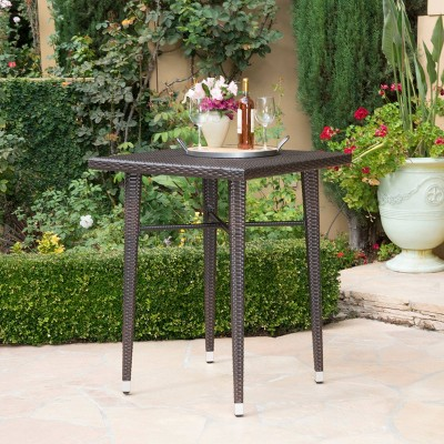 Dominica Square Wicker Bar Table - Brown - Christopher Knight Home