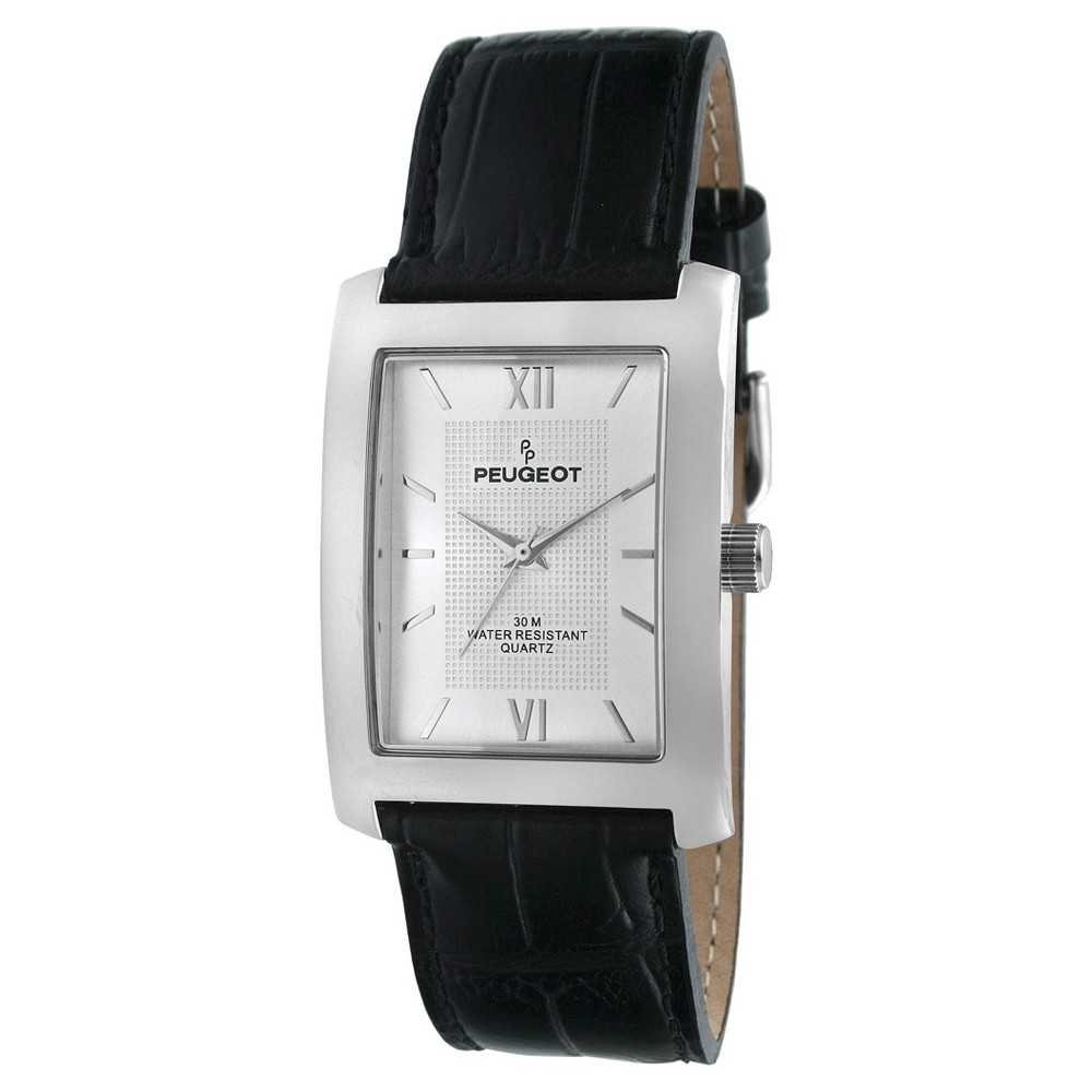 Image of Men's Peugeot Rectangular Leather Strap Watch - Black, Men's, Size: Small, Silver Black