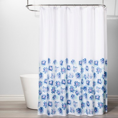 Creeping Floral Shower Curtain White/Blue - Room Essentials™