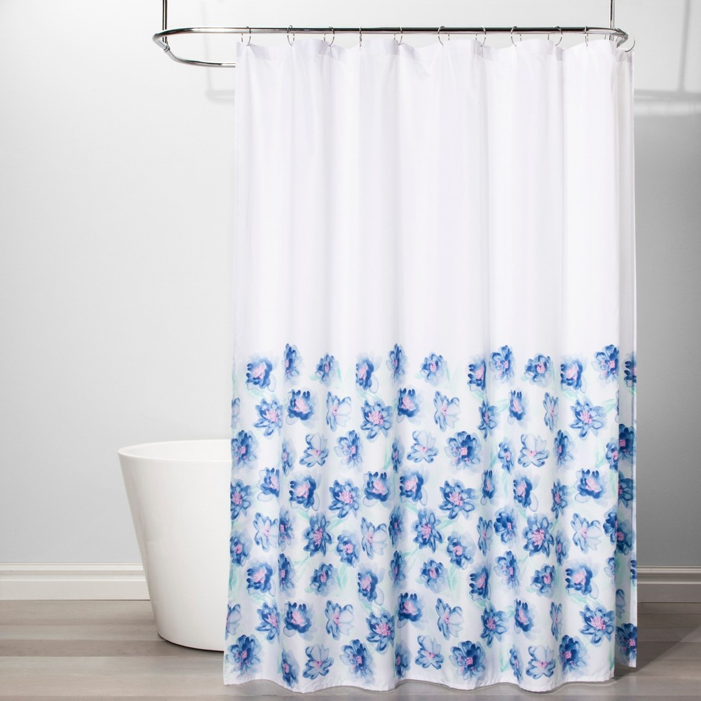 Creeping Floral Shower Curtain White/Blue - Room Essentials