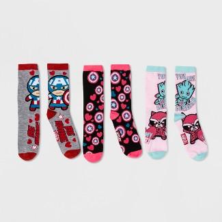 Womens Marvel Avengers Valentines Day 3pk Crew Socks Gift Box -Pink 4-10