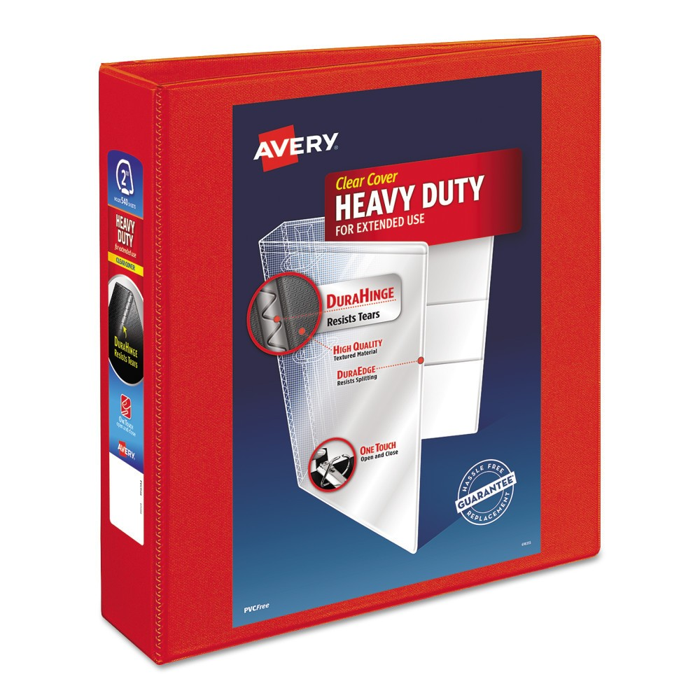Avery Heavy-Duty View Binder with Locking 1-Touch Ezd Rings, 2 Cap, Red