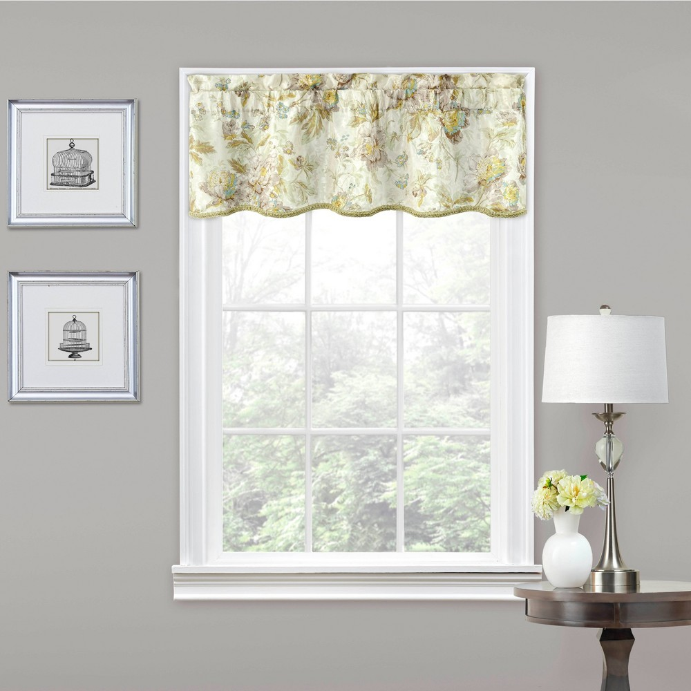 "Image of ""16""""x52"""" Floral Window Valance Ivory - Traditions by Waverly"""