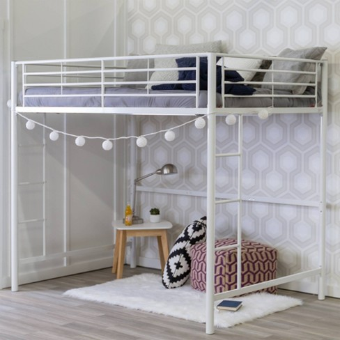 Full Size Loft Bed.Premium Metal Full Size Loft Bed White Saracina Home
