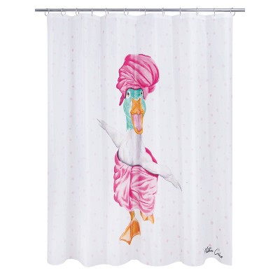 Mud Mask Duck Shower Curtain White/Pink - Allure Home Creations