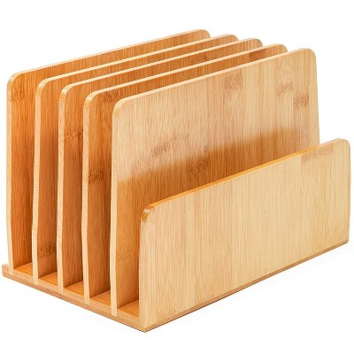 Bamboo Desk File Organizer, Wood Desktop Books Mails Magazines Papers Envelopes Documents Sorter Holder, Upright, 10 x 6.5 x 7 inches