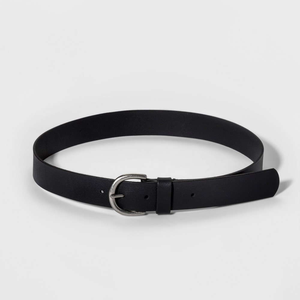 Image of Women's Casual Skinny Leather Jean Belt with Single Prong Buckle - Universal Thread Black L, Women's, Size: Large