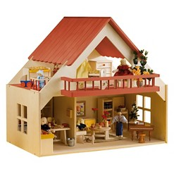 Rulke Wooden Doll House with Balcony
