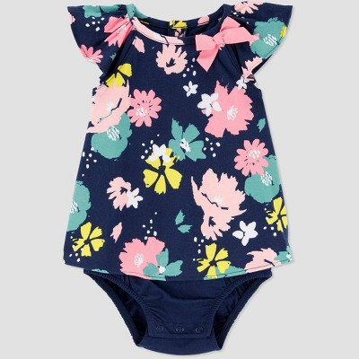 Baby Girls' Floral Sunsuit Romper - Just One You® made by carter's Navy/Pink Newborn