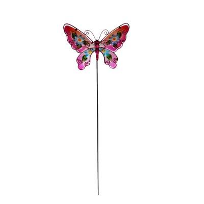 """31.5"""" H Metal Garden Stake - Pink - Creative Motion"""