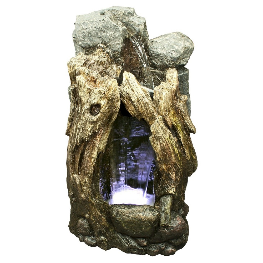 Alpine Corporation 52 Rainforest Waterfall Tree Trunk Fountain With Led Lights - Brown