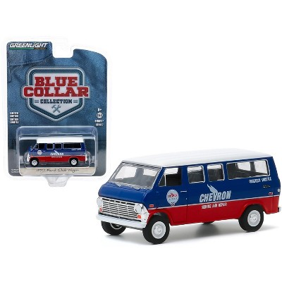 """1970 Ford Club Wagon Van """"Chevron Service & Repair Courtesy Shuttle"""" Blue and Red with White Top 1/64 Diecast Model Car by Greenlight"""