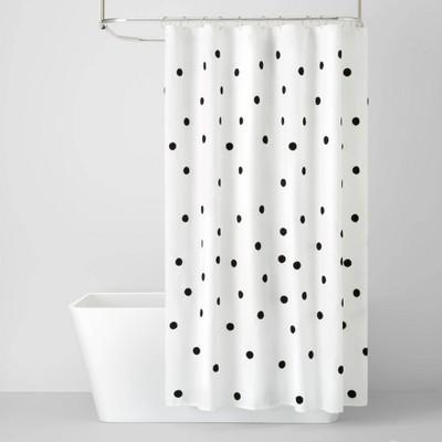 Black Dot Textured Shower Curtain - Pillowfort™