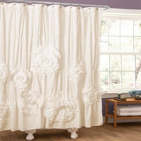 Serena Flower Texture Shower Curtain - Lush Décor - image 1 of 4