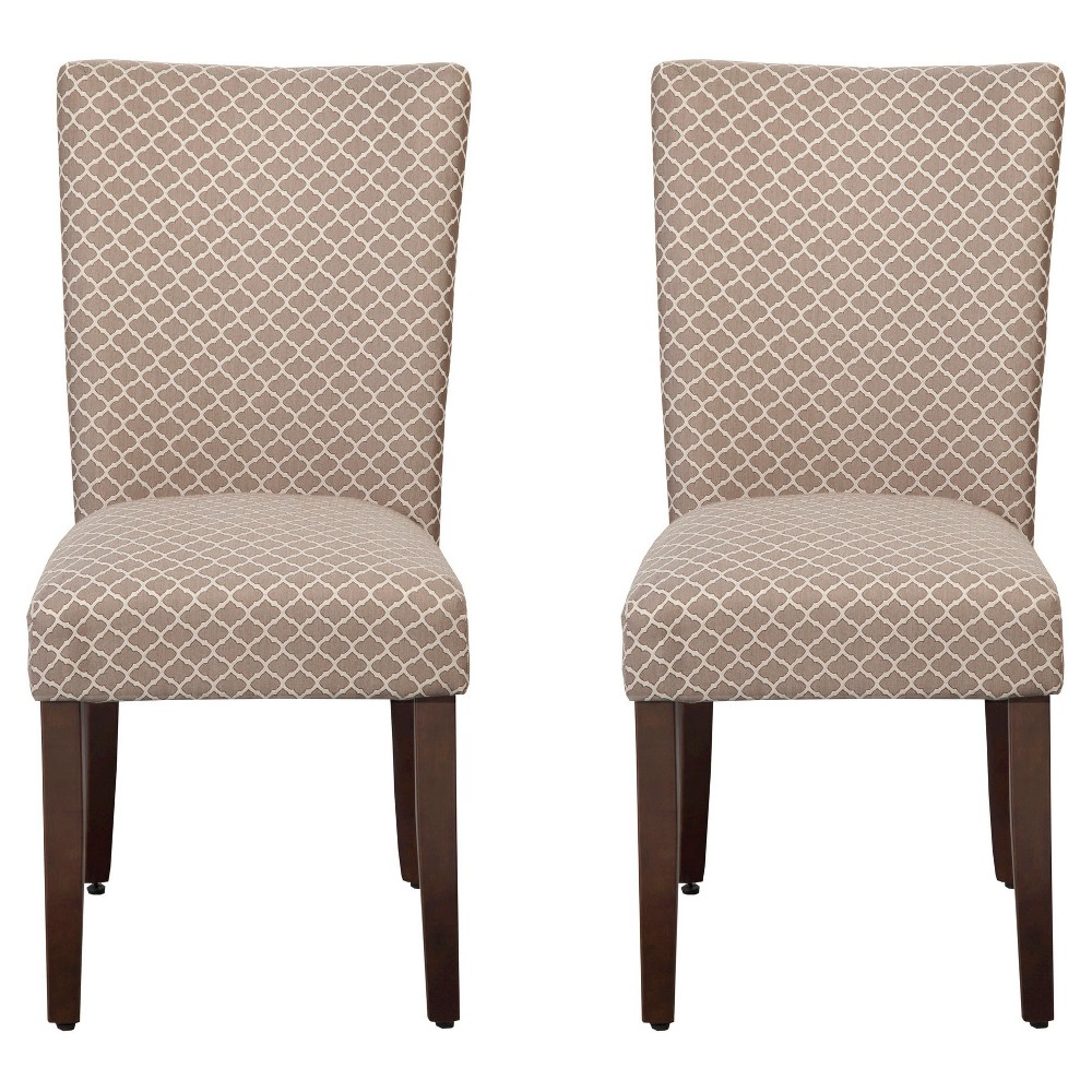 Parson Dining Chair Wood/Brown Mini Geo (Set of 2) - HomePop, Brown Off-White