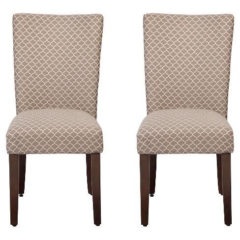 Parson Dining Chair Wood/Brown Mini Geo (Set of 2) - HomePop - image 1 of 4