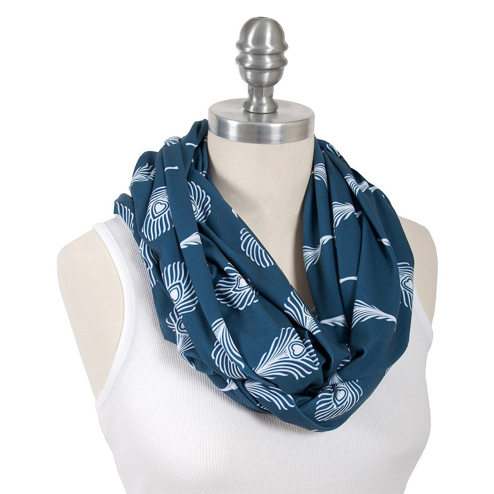 Image of Bebe au Lait Premium Cotton Jersey Nursing Scarf Whimsical Feathers - Mayura, Blue