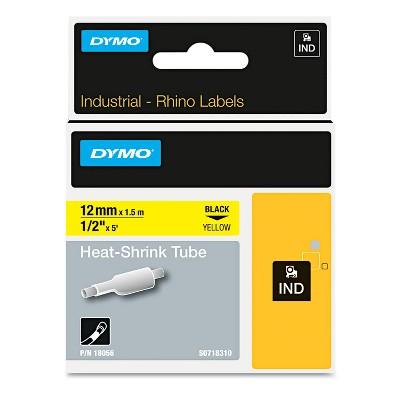 "DYMO Rhino Permanent Vinyl Industrial Label Tape 3/8"" x 18 ft White/Black Print 18443"