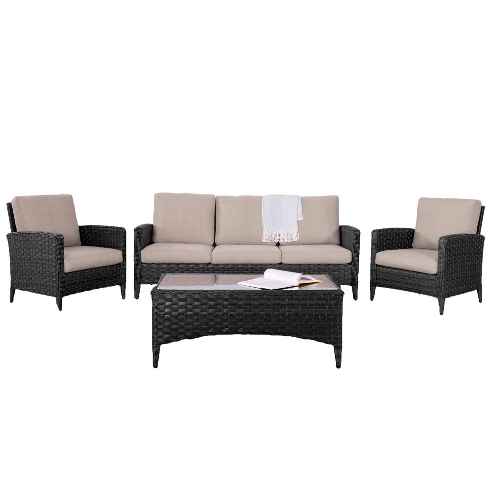 Parkview 4pc Sofa Chair Set Beige - CorLiving