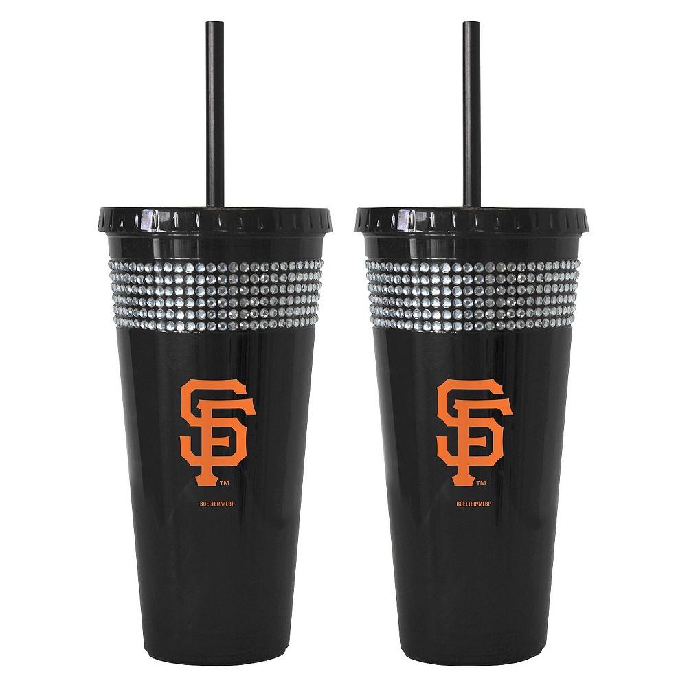 Boelter Brands MLB L.A. Dodgers Set of 2 Bling Straw Tumbler - 22oz, Multi-Colored