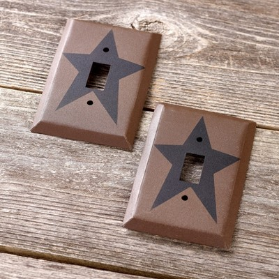 Lakeside Barn Star Toggle Switch Plate Covers for Lights with Farmhouse Style - Set of 2