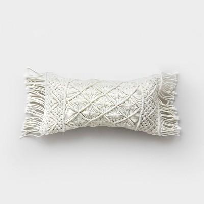 Lumbar Macrame Outdoor Pillow Cream - Opalhouse™