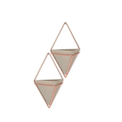 Set of 2 Trigg Display Wall Planters Concrete/Copper - Umbra