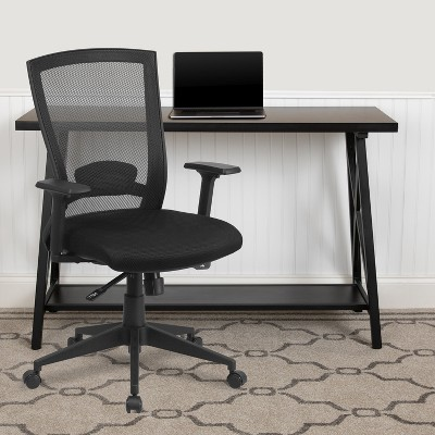 Flash Furniture Mid-Back Black Mesh Executive Swivel Ergonomic Office Chair with Back Angle Adjustment and Adjustable Arms