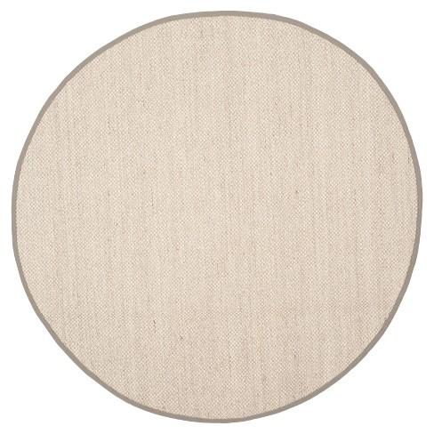Natural Fiber Rug - Marble/Khaki - (6'x6' Round) - Safavieh® - image 1 of 3