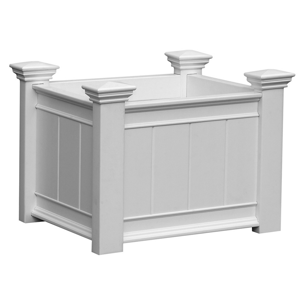 Image of Barcelona Rectangular Planter Box - White - New England Arbors