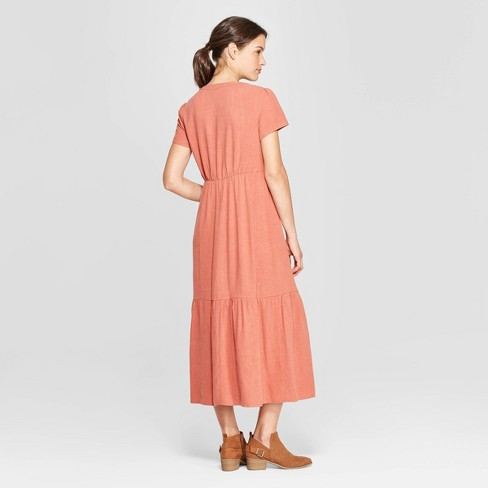 Women s Short Sleeve V-Neck Cap Sleeve Midi Dress - Universal Thread™  Copper   Target b2df7e560