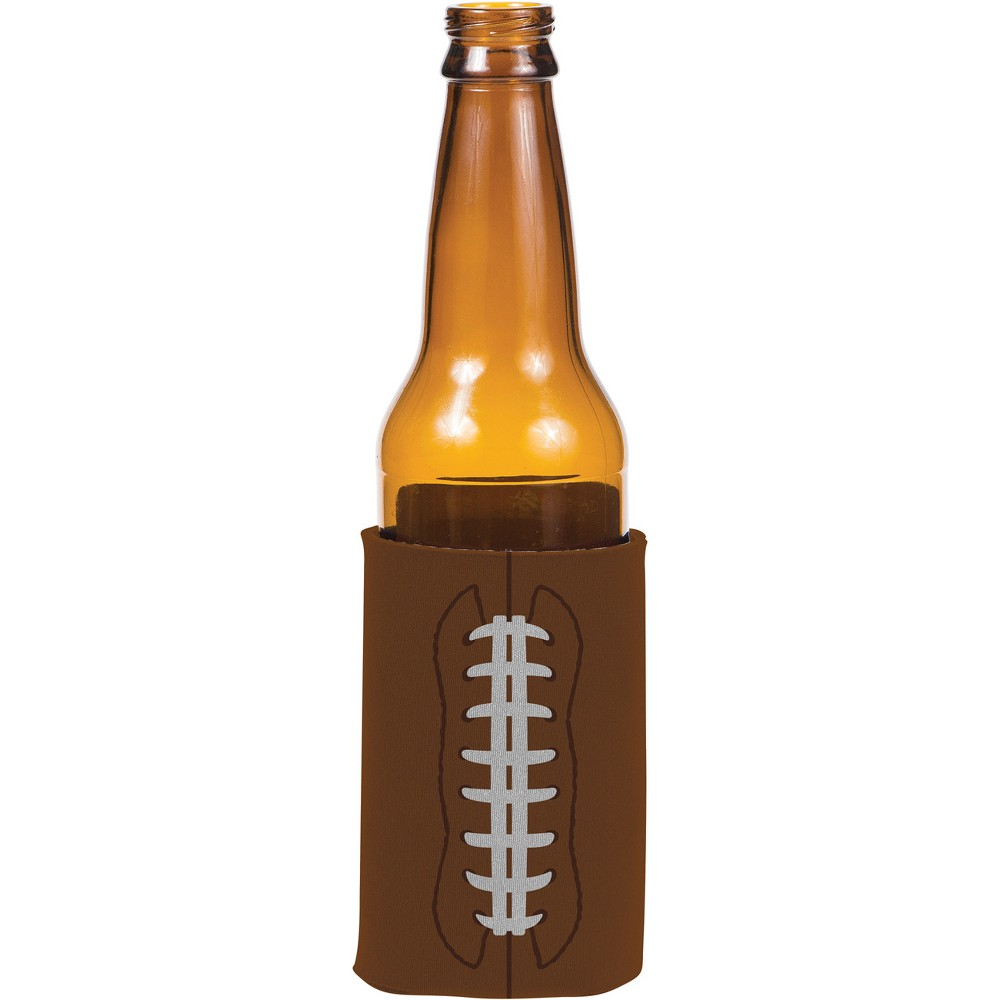 Football Drink Holder, Party Favors Serve up your favorite bottled beverages and keep them cool with these Football Drink Holders. These drink holders feature a football design are perfect for Super Bowl parties, sports banquets, birthdays and more! Sold individually, each holder features a brown football pattern complete with white stitching. Gender: Unisex. Age Group: Adult.