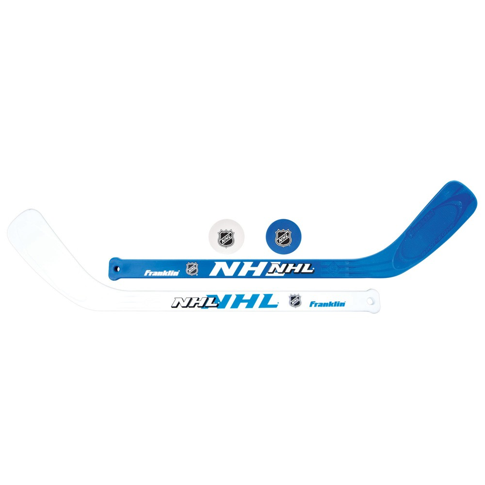 Franklin Sports NHL Mini Hockey Players Stick and Ball Set Challenge your friends to a game of hockey with the NHL Player Stick and Ball Set. Play for hours with 2 durable high-impact plastic mini hockey sticks and 2 soft Eva foam mini balls . The mini sticks are pre curved with textured blades so you can play like a pro at home.