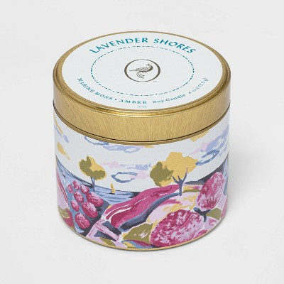 4oz Mini Patterned Tin Lavender Shores Candle - Opalhouse™