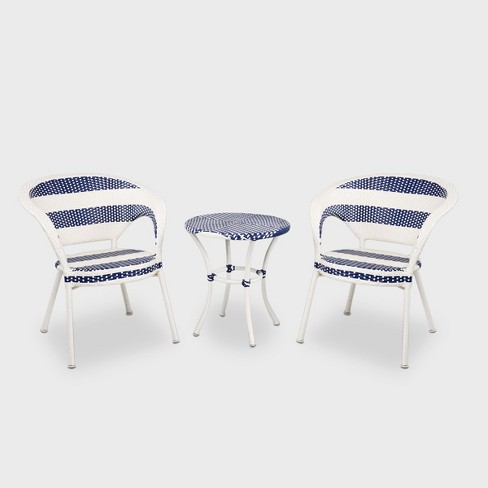 Fantastic 3Pc Wicker Patio French Bistro Set White Blue Project 62 Best Image Libraries Weasiibadanjobscom